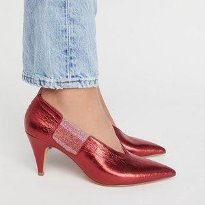 Free People Florence Pump Heel Red Metallic Pointy